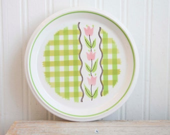 Country Gingham Vintage Mikasa Plate, Mint Taffy Salad Plate, Mikasa Plate, Retro Mikasa, 1970s, Pink, Neon Green, Pink Tulips, Kitsch