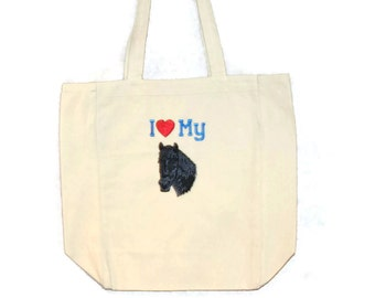 Love My Black Horse Tote Bag, Monogrammed, Personalize WIth Name, Horse Lover Market Bag, No Shipping Charge, Ready To Ship TODAY, AGFT 266