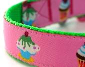Sweet Tooth Dog Collar, European Ribbon Collar, Adjustable Pink Collar, Cupcake