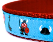 Little Vikings Dog Collar, Adjustable, Ribbon Pet Collar, Blue, Nautical, Viking Boats