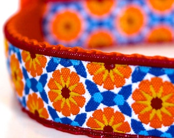 Orange Flowers Dog Collar, Adjustable Pet Collar, Spring Summer Dog Collar