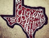 Aggie Texas Shaped Spirit Wood Door Sign
