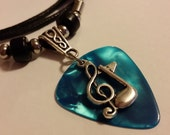 Guitar Pick Necklace - Music Note Necklace -Turquoise -  Guitar Pick Jewelry - 2mm Cotton Cord - Adjustable Necklace