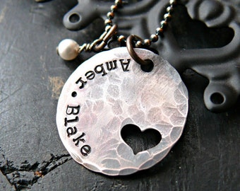 Hand Stamped Rustic Neklcace - Hand Stamped Necklace - Mothers Heart Hand Stamped Necklace