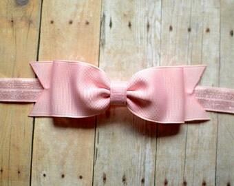 Pink Bow Headband / Light Pink Baby Bow Headband / Pink Baby Headband / Baby Hair Accessories / Girls Hair Accessories / Newborn Headband