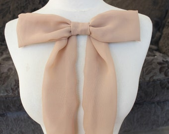 Cute  mocha color chiffon bow applique   1 pieces listing