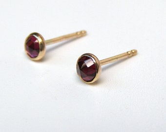 Solid 14k gold earrings, Garnet Solid gold Studs, Valentine's day gift,14k yellow Gold post Earrings 4mm