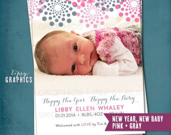 New Year's Birth Announcement. New Year New Baby. Fireworks. Any colors. Photo Birth Announcement. By Tipsy Graphics