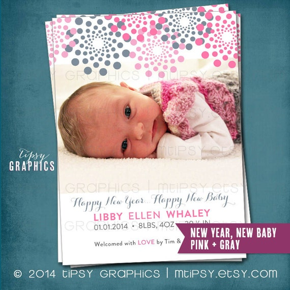 New Years Birth Announcement New Year New Baby Fireworks Any – New Years Birth Announcements