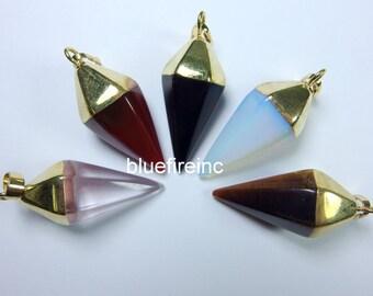 Natural Gemstone Pendulum Pendant in different stone with gold cap/Pendulum Geometric Pendant