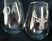 Oh Deer  *Stemless* Wine Glasses - Hand Engraved Celebration Glass - Oh Deer or YOUR saying
