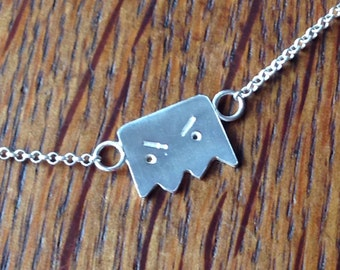 Tiny Monsterface Necklace, Sterling silver, Handmade