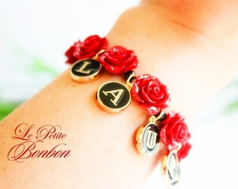 Name initials Sexy red rose flower bracelet
