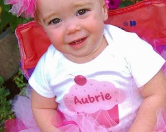 Custom 1st Birthday Cupcake Shirt + Tutu Outfit (any age)