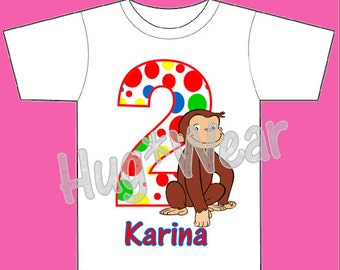 Curious George Birthday Shirt + Tutu Outfit  (Any Age)