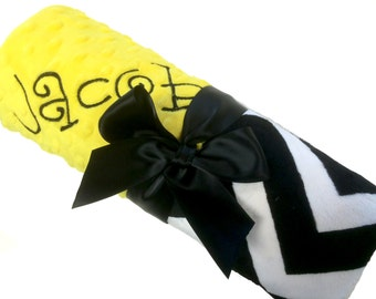 Black and White Chevron Minky Baby Blanket with Yellow Dot Minky Back Personalization Included Stroller Size