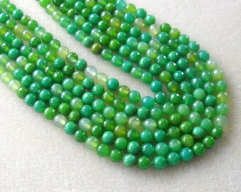 Green Yellow Agate Faceted Round Beads, Gemstone Beads, Semi Precious, Craft Supplies, Jewelry Making Beads,  Agate Beads, Bead Supplies