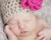 Baby Girl Hat  With Flower Baby Girl Beanie Infant Girl Hat Newborn Girl Hat Infant Photo Prop Baby Girl Clothes Coming Home Outfit