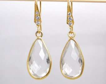 Hydrothermal crystal quartz earrings, choose ear wire- vermeil w/ cubic zirconia, 14K gold filled ear wire or lever backs
