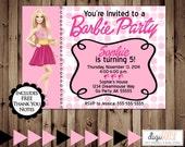 BARBIE Invitation -- Birthday Party -- DIGITAL file -- Custom Printable Birthday Party Invitation
