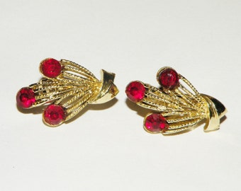 Coro Red Rhinestone Clip On earrings