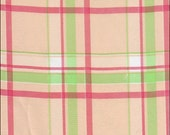 Plaid Oilcloth Fabric in Pink and Lime