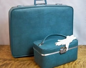 Mid Century JC Penneys Towncraft Two Piece Luggage Set - Blue