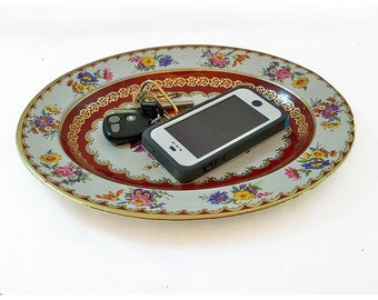 Vintage Oval Shaped Daher Decorated Ware Metal Litho Tray