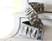 ruched dslr camera strap cover with grey and cream dots, camera accessory