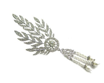 Great Gatsby Crystal Pearl Brooch for Roaring 20's wedding, Artdeco Vintage style, Great Gatsby, Daisy Buchanan BRO-037