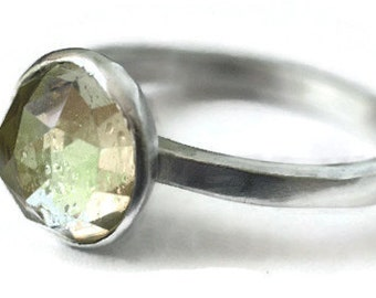 Citrine Ring Rose Cut in Dome Sterling Silver Size 8.25