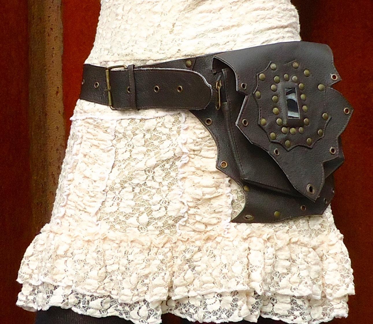 leather utility belt bag steampunk festival hip belt with. Black Bedroom Furniture Sets. Home Design Ideas