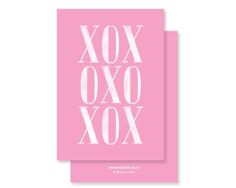 XOX (Hugs and Kisses and a bit of Love) Typographic Greeting Card - pink