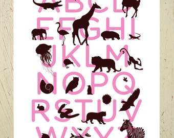 Animal alphabet print - pink and brown large ABC print by Erupt Prints