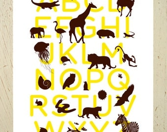 Alphabet print - yellow and brown animal abc art print by Erupt Prints