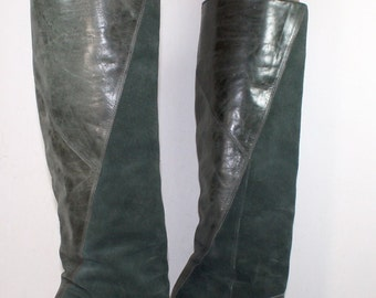 Vintage green gianni bini high heel knee high tall western womens suede Leather fashion boots 6.5 M B
