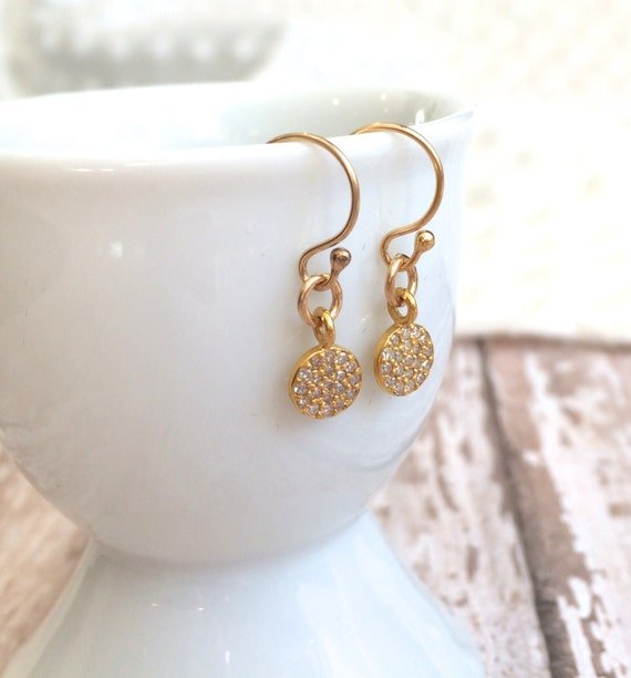 Tiny Pave Diamond and 14 Karat Gold Earrings