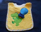 Dragon with Washcloth, over the head bib