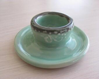 Egg Cup Handmade Pottery Stoneware Turquoise Ceramic Dish