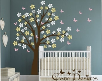 Cherry Blossom Tree with Butterflies,  Vinyl Wall Decal Sticker Set, nursery, removable wall decal set
