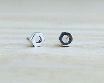 Sterling silver stud earrings, Industrial Jewelry, Screws  Nuts, Geeky, geometric earrings, modern jewelry, simple silver studs