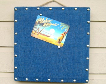 Bulletin Board, Navy Blue nautical with silver nail head trim detailing, Burlap memo board in our box framed style, cabin or office