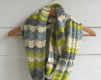 Green, Blue, Gray and Cream Chevron Infinity Scarf