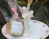Repurposed Cherub Angel Pink Roses Bird Feeder White Floral vintage copper seed