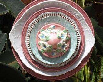 Vintage Glass Plate Flower Pink Rose China Hat Garden Art