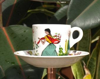 Fiesta Explosion Time of Color Teacup Bird Feeder vintage china repurposed seed