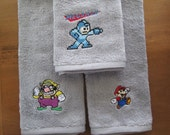Mario, Wario, and Mega Man hand towels RESERVED for Francis