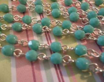 Turquoise 4mm Fire Polished Glass Beads on Silver Beaded Chain - Qty 18 inch strand