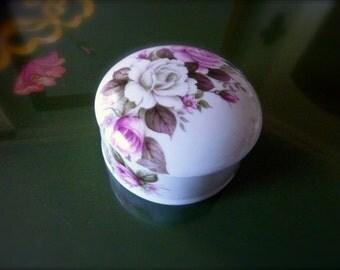 Vintage Rose Ring Box Engagement ring Round Trinket Box Mini holder Jaspers Ltd