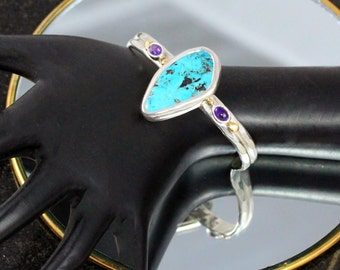 Sterling Chrysocolla Cuff Bracelet with Purple Amethyst & 14k. Gold Accents SIZE  Small